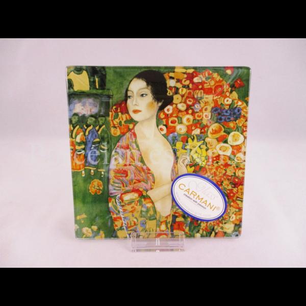 H.C.198-1017 Üvegtál Klimt: A táncos, 0,5x13x13 cm
