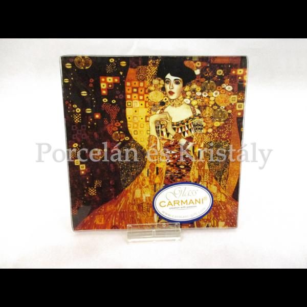 H.C.198-1402 Üvegtál Klimt: Adél, 0,5x13x13cm
