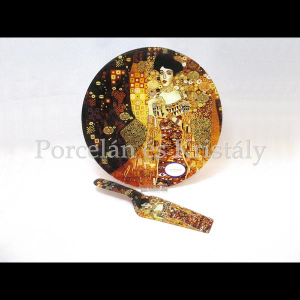 H.C.198-1715 Üveg süteményes kínálótál lapáttal Klimt: Adél, 1,5x30 cm