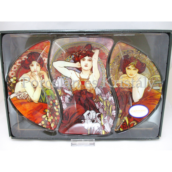 H.C.198-7002 Üvegtál szett 3 részes Mucha képek, 3x23x37 cm