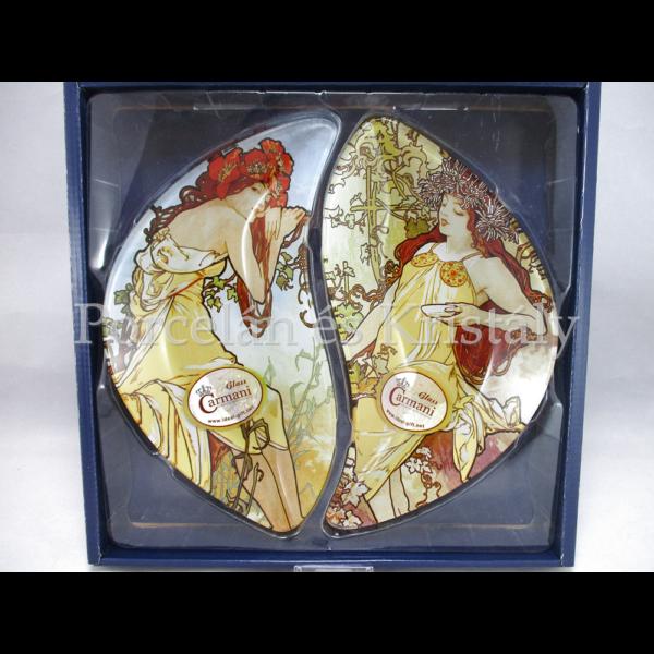 H.C.198-7025 Üvegtányér szett 2 részes Mucha: Nyár-Ősz, 3x21x24 cm