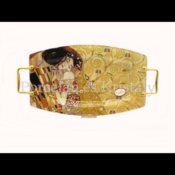 H.C.198-7031 Üvegtálca Klimt: Csók, 2x28x54 cm