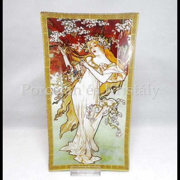 H.C.198-7201 Üvegtál Mucha: Tavasz, 2x30x16 cm