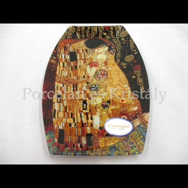 H.C.198-8041 Üvegtál Klimt: Csók, 7x30x21 cm