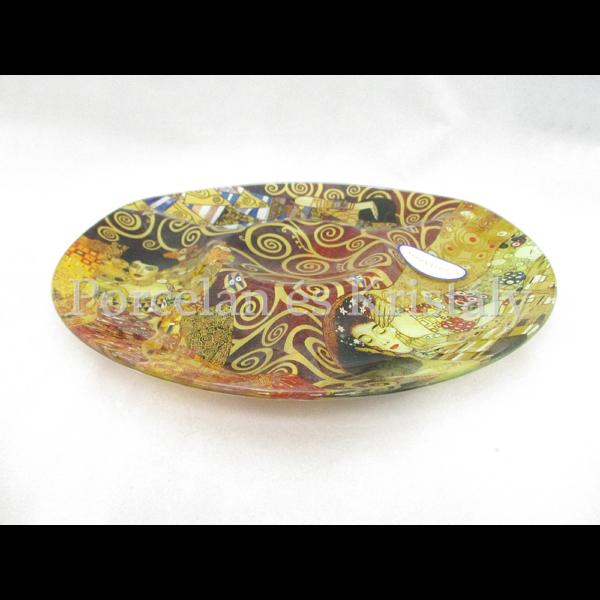 H.C.198-8061 Üveg kínálótál 3-as osztású Klimt képek, 2,5x29cm