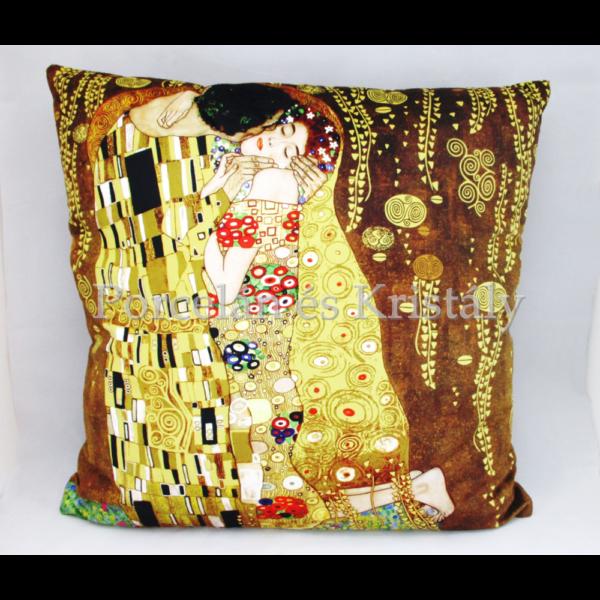 H.C.021-1601 Párna barna Klimt: Csók, 45x45x11 cm