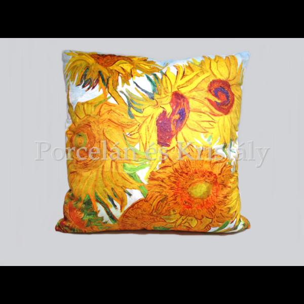 H.C.021-1701 Párna Van Gogh: Napraforgók, 45x45x11 cm