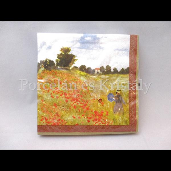 R2S.414MON2 Papírszalvéta Monet: Pipacsmező, 33x33 cm