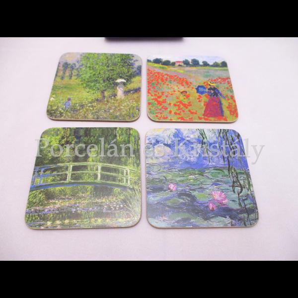 T.L.C.LP94447 Parafa poháralátét szett 4 db-os Monet, 10x10 cm