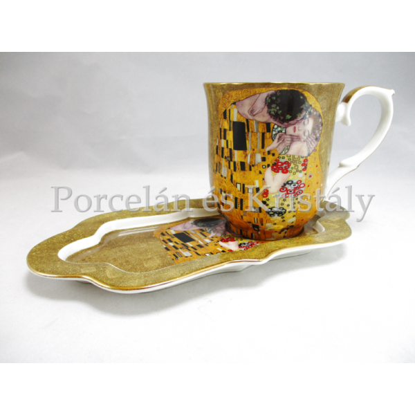 P.P.W7A75-00186 Porcelánbögre oldaltálcával 400 ml, Klimt: Csók