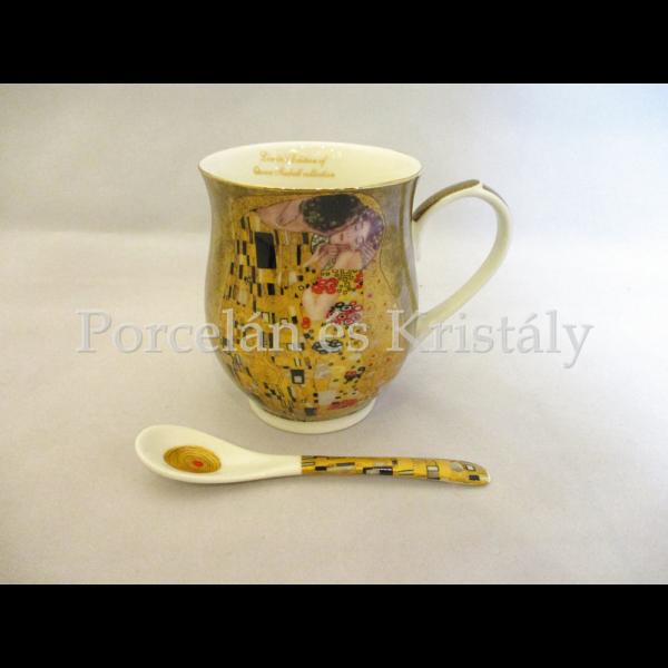 P.P.W8A93-21041 Porcelánbögre kanállal 350ml, Klimt: Csók
