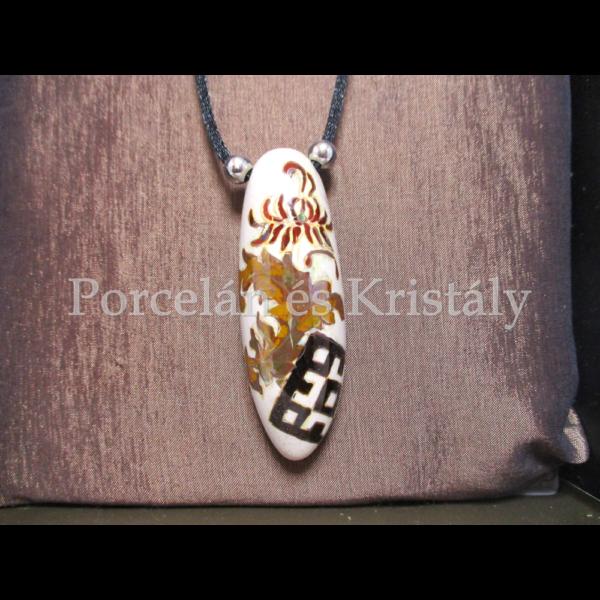 Fanani (Szent) fehér krizantém medál, többtűzű eosin, Zoób ékszer, 6x2 cm