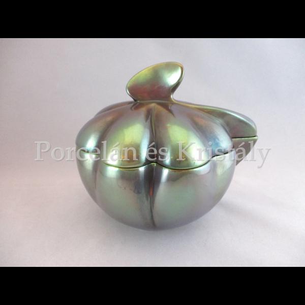 10693 Lóhere bonbonier zöld eosin, 15,5x17,5x14,5 cm