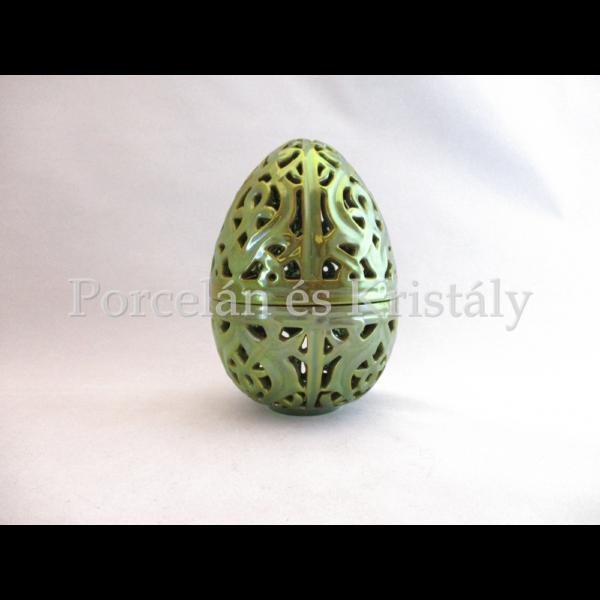 10700 Áttört tojás bonbonier zöld eosin, 13x9 cm