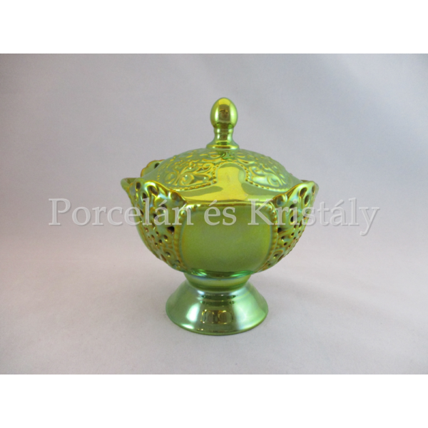 1737 Áttört bonbonier fedővel zöld eosin, 15x13 cm