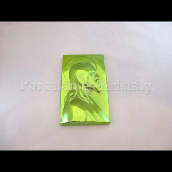 5818 Krisztus falikép zöld eosin, 17x10,5x2 cm